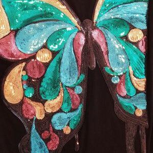 Max Azria sequin butterfly shirt dress